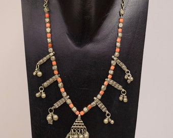 Necklace Vintage Middle East Silver Studded Silver Beads Coral Charms Handmade Pink Coral Necklace Silver Beads Jewelry One of a Kind G