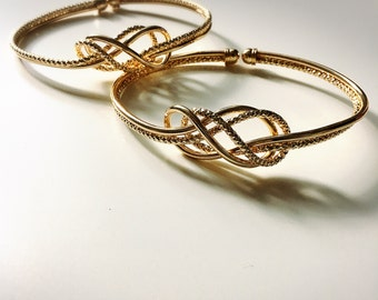 SunJewel gold double knot arm bracelet jewelry gift