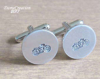 Personalized Cuff Links Motorcycle Gifts, Dad Gift from Bride, Mens Wedding Party Groomsman Gift, Personalized Cufflinks Silver