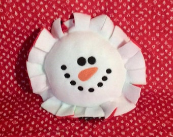 """Embroidered Small Snowman Pillow approx 8"""" round - 12"""" includes ruffle"""