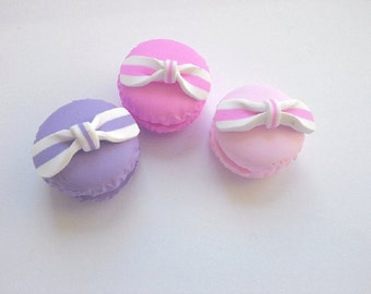 4 pcs macaroon cabochons  - polymer clay - decoden - jewellery - cabs statement craft supplies UK hobby crafts scrapbooking