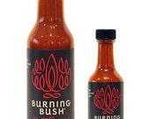 """Burning Bush® Hot Sauce – Buy one 5 oz. bottle get one 1.7 oz. """"hot shot"""" FREE"""
