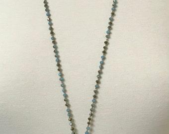Stunning Rhinestone & Semi Precious Stone Pendant Necklace