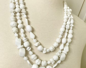 """Miriam Haskell Vintage White Glass Beads Necklace 75"""" Long"""