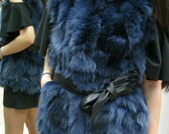 NEW!!! Natural,Real BLUE color Fox Fur Vest!!!
