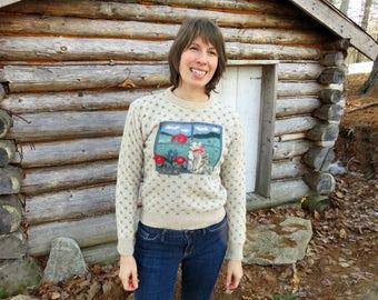Cat Sweater! Eddie Bauer 1989 Vintage Cat Sweater. Women's Small / XS