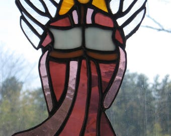 Stained Glass Angel with Book/Handcrafted/ USA