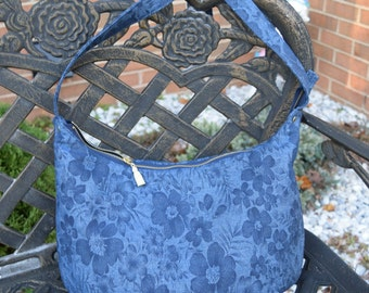 Blue Floral Print Denim Hobo Handbag