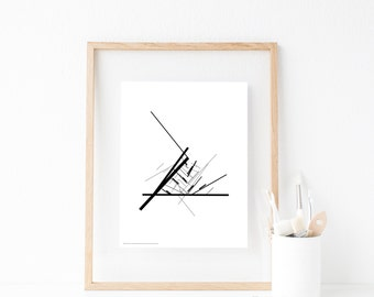 Affiche noir et blanc, nordic wall print art, office art wall, high quality minimalist print, original artwork canvas, 30x40cm, 50x70cm