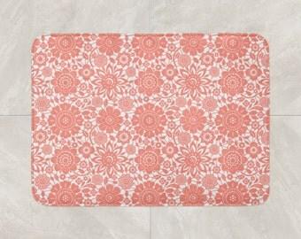 Floral Bath Mat, Pink White Bathroom Decor, Foam Bath Rug, Coral Bath Mat