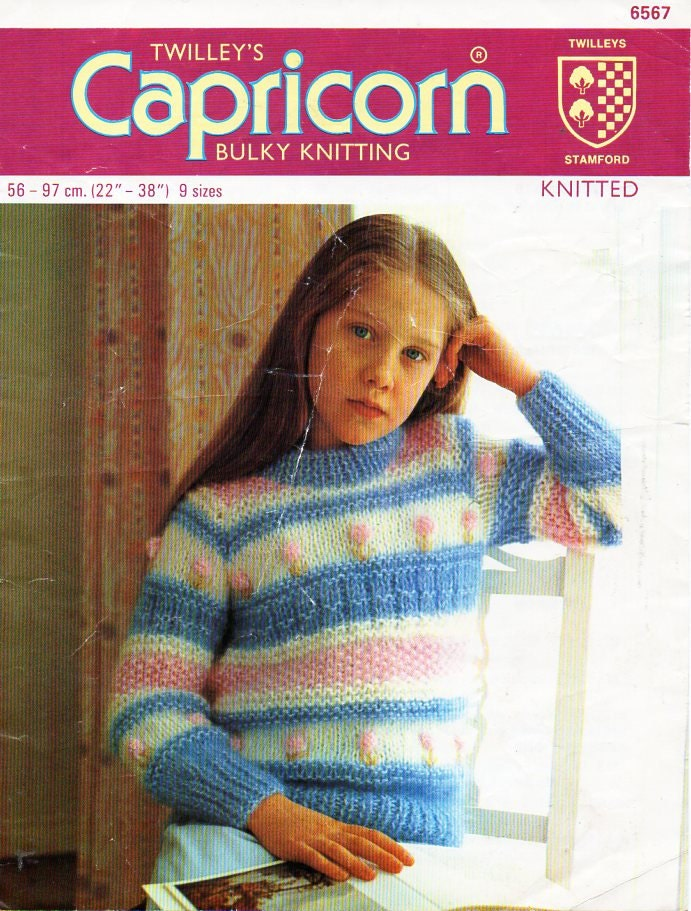 childrens chunky striped sweater knitting pattern PDF girls