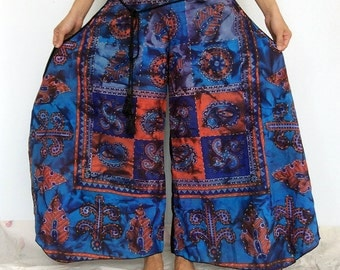 Clearance SALE..Blue Orange Wide-leg Pants Skirt Pants  (WL-397)