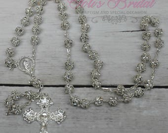 FAST SHIPPING!! Handcrafted Beautiful Silver Rosary, Wedding Rosary, Communion Rosary, Christening Rosary, Confirmation Rosary, Rosary Gift