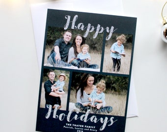 Holiday Card with Photos - 5x7 - Happy Holidays - Silver Glitter - Printable and Personalized