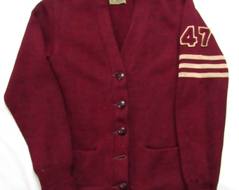 vintage 1940s 100 wool knit varsity sweater w patch womens xs to s letterman cardigan octonek