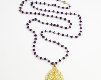 Gold Buddha Pendant and Amethyst Chain Necklace