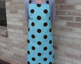 Blue and Brown Large Polka Dot Apron