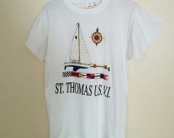 Vintage 80s 90s St Thomas T-shirt, 1980s 1990s Short Sleeve Nautical Theme Crewneck Tee, Size Small to Medium