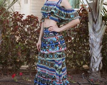 Maxi Floral Skirt Gypsy Summer Long Skirt  Striped Festival Bohemian Prom Loose Full Lenght Skirt Flower Print Free Shipping