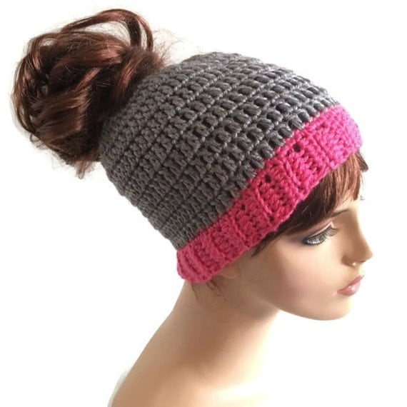 Crochet Bun Hat : Crochet Messy Bun Hat Pony Tail Hat Jogging Hat Running Hat Made to ...