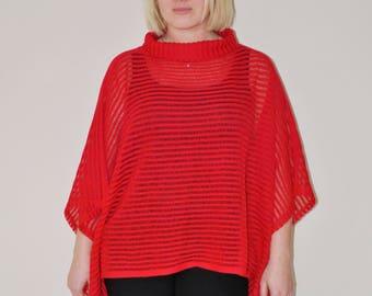 boho knit poncho - red boho kimono poncho - plus size turtle neck poncho - pullover sweater - knit women cape - knit sweater