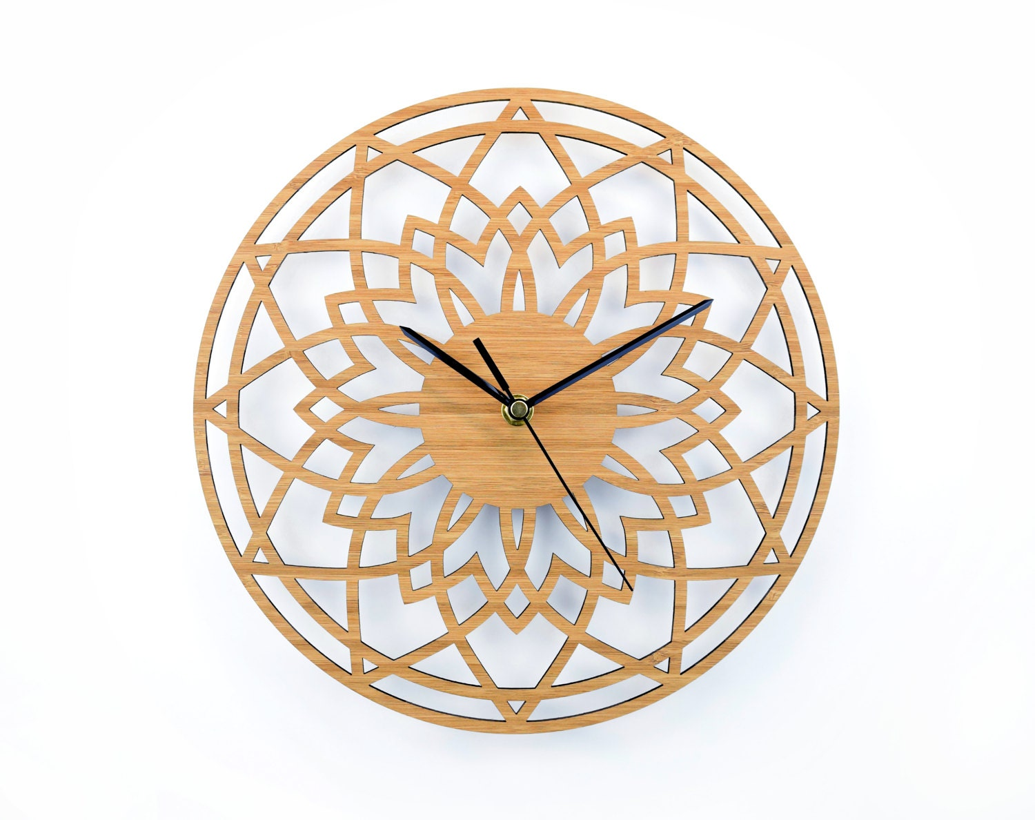 Wedding Gift Clock: Wooden Wall Clock Geometric Clock Unique Wedding Gift