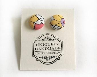 Covered Button Earrings - Nickel Free Earrings - Button Earrings - Fabric Earrings
