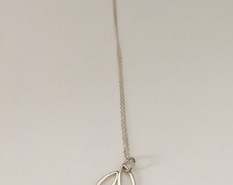 Three leaves pendant, charm, sterling silver
