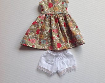 Sasha Doll Outfit - Dress and Lace edged Panties - Pink Flower Garden