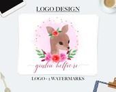 Deer logo, business logo design, feminine logo, floral logo design, branding kit, blog logo, boutique logo design, ooak logo, watercolor log