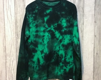 Tie Dye Crew Neck Jumper Green/Black