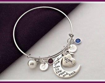 Mom Bracelet, Mothers Personalized Birthstone Bracelet, Silver Love You to the Moon Charm Bracelet, Wife Jewelry Gift Idea, Grandma Bracelet