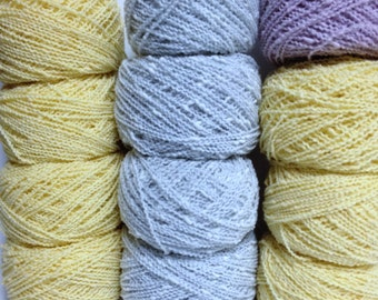 DK Wool Bundle Spinrite Wool Blend 12 Wavey Yarn Cakes Vintage Bouquet Cindy Cotton Look Yarn Yellow Grey-Blue Lavendar Yarn for Knitting