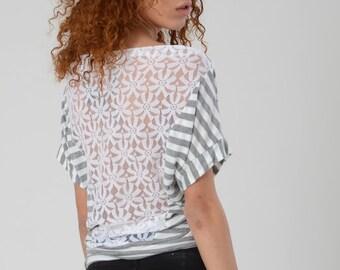Woman Off Shoulder Top, Lace Back Shirt, Grey White Stripes Shirt, Women's Open Back Shirt, Boho Top, Casual White Lace Top, Sexy Summer Top