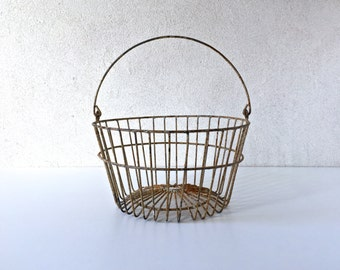 Chicken Egg Wire Basket, Vintage Egg Basket, Farmhouse Towel Holder