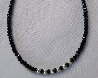 Small black spinel necklace with silver
