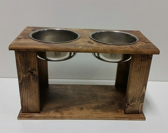 Raised Dog Bowl -Dog Bowl Stand - Pine Dog Bowl Stand - Rustic Dog Bowl Stand - Elevated Dog Bowl - Raised Dog Feeder - Elevated Dog Feeder
