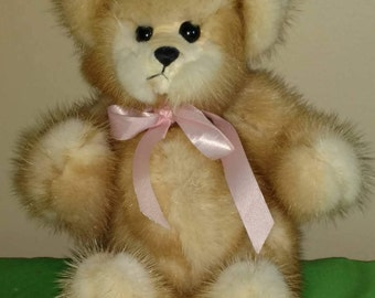"Vintage 12"" Caramel Frosted Teddy Bear by Patsy Lane"
