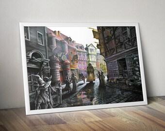 Harry Potter ART PRINT, Diagon Alley street, Harry Potter fanart, fantasy art print, wizarding world, fantasy illustration, HP illustration