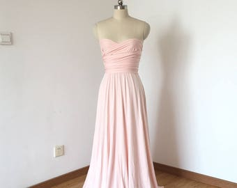 Sweetheart Strapless Blush Pink Spandex Long Convertible Bridesmaid Dress