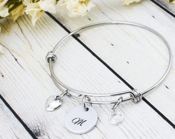 Bridesmaid Jewelry - Bridesmaid Gift Idea - Initial Bracelet for Women - Flower Girl Gift - Bridesmaid Bracelet - Maid of Honor Gift for Her