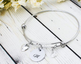 Custom Bridesmaid Bracelet - Bridesmaid Initial Bracelet - Personalized Bridesmaid Gift - Bridesmaid Jewelry - Birthstone Bracelet