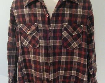 Vintage 70s Wool Plaid Shirt // Loop Collar // Atkinson // Made in Korea