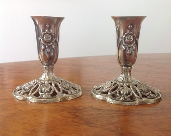 Silver bud vase pair in Hildesheim Rose pattern style - German 835 - flower holder vase