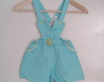 Vintage 1940's Kids' Brockways Mint Green Wavey Crepe Cotton Romper Sunsuit Overall Shorts Sz 6 WWII Era Little Rascals