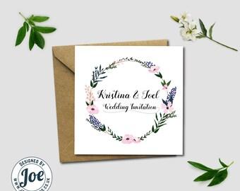 Floral personalised folding Wedding Invitations + Envelopes
