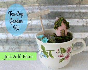 Tea Cup Garden Kit with Personalized Sign, Little House, Tea Lover Gift, Mother's Day Gift, Teacup Decor, Miniature garden, Baby Shower gift