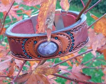 Braided leather bracelets with gemstone