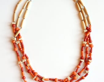 Long & Layered Dyed Bone Necklace. Carved Peach and Natural {Vintage 1980's}