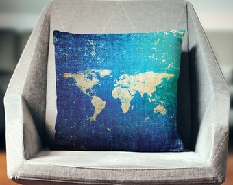 World Map Pillow | World Map Decor | World Pillow | Map Pillow | World Map Decor | Map Pillow Case | World Decor | Map Throw Pillow